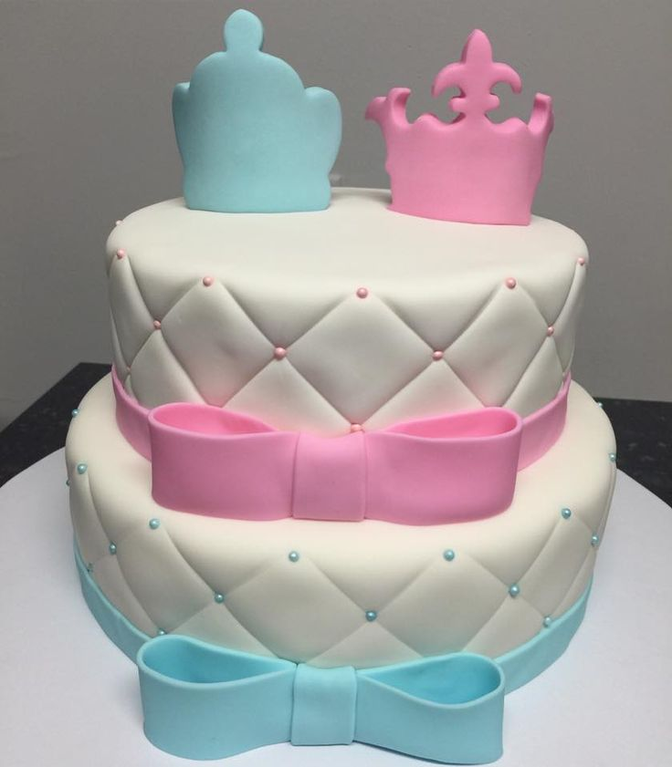 Princess Or Prince Gender Reveal Cake Blue Or Pink Boy Or Girl #ideas…