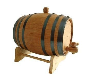 Oak barrels are used for aging spirits or as decoration. These oak barrels are constructed from used bourbon barrels. The inside is charred medium to medium plus, and will smell of bourbon. Made from
