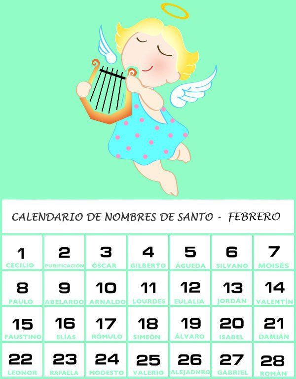 Calendario De Los Nombres De Santos De Febrero Santoral De Febrero Calendario Nombres