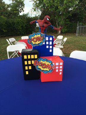 Superhero Theme centerpieces (spiderman)