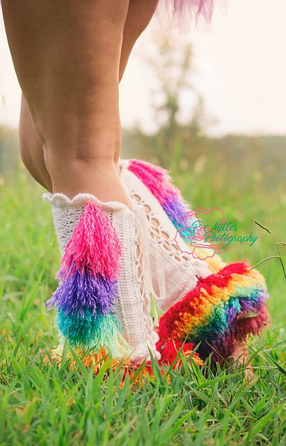 "Do you love all things mythical, magical, and rainbow? Are you a unicorn??!!! Then these legwarmers are perfect for you!! This pattern is part of the ""Order of the Unicorn"" collaboration. You can find the other patterns in the series as follows:"