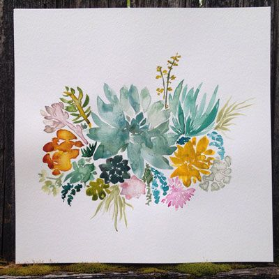 How pretty is this succulent garden print?