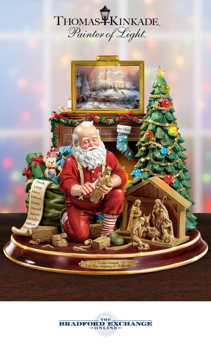 Thomas kinkade o holy night christmas stocking - The True Meaning Of Christmas Tabletop Centerpiece