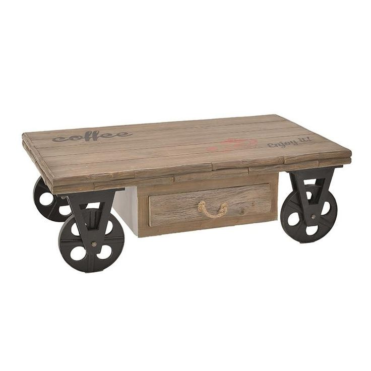 WOODEN COFFEE TABLE W/METAL WHEELS 123X73X41 - Coffee Tables - FURNITURE
