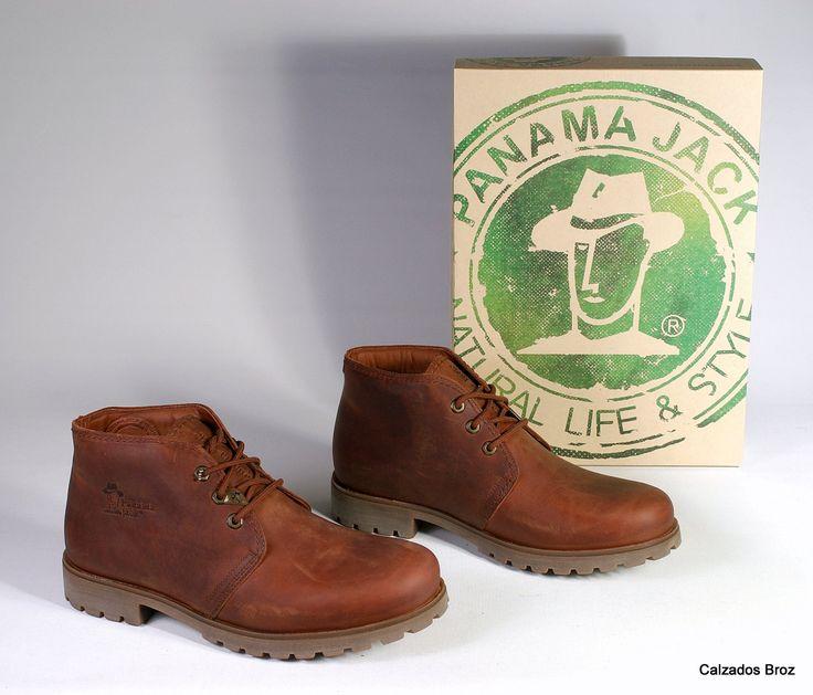 Colección Panama Jack. Botín de piel con cordón - Marrón. (home).