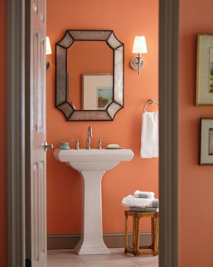 Apricot Color For More Optimism And Happiness Orange Bathroom
