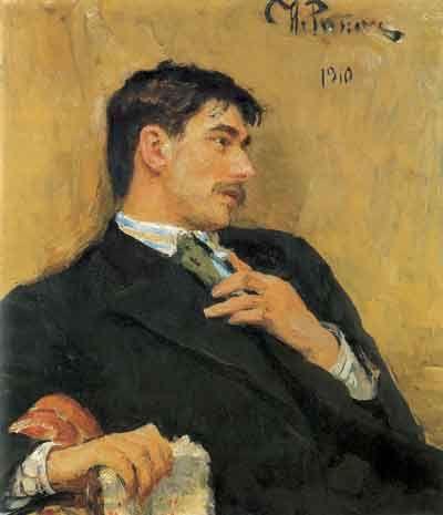 Portrait of poet Korney Ivanovich Chukovsky (1910) –  Ilya Repin      Mercy! Like a soulful, Edwardian era Sam Elliot.