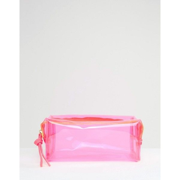 ASOS Clear Make Up Bag With Contrast Zip (31.210 COP) ❤ liked on Polyvore featuring beauty products, beauty accessories, bags & cases, pink, wash bag, travel kit, travel toiletry case, toiletry kits and makeup purse