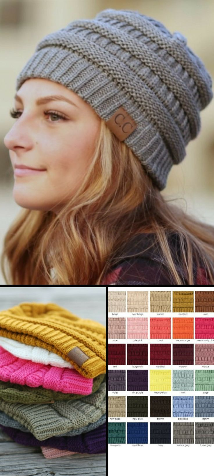 C.C. Beanie Knit Hats Adult and Child Sizes #fashion#CC#ad