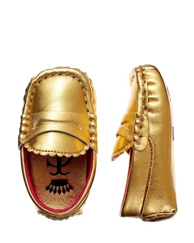 gold metallic baby loafers