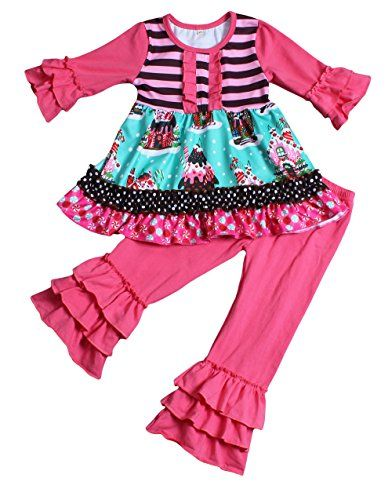 9965d5efba Yawoo Haan Kids Girls Christmas Party Wear Clothing Set Dress Pants  Boutiuque Outfits