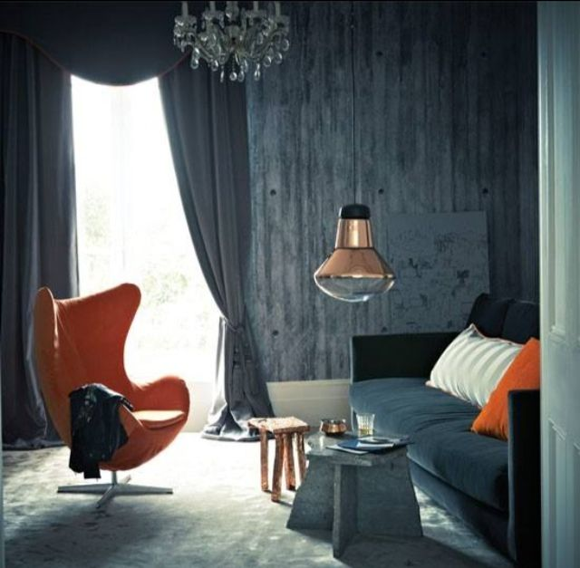 Grey And Orange Living Room Combo