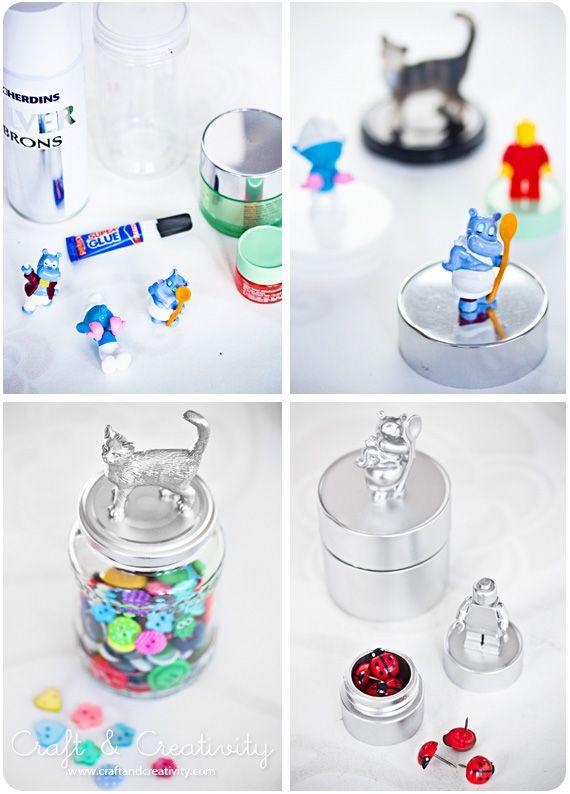 Spray painted cans & jarsSprays Painting, Decor Ideas, Plastic Animal, Kinder Surpris, Jars Crafts, Baby Toys, Painting Jars, Jars Lids, Kids Toys