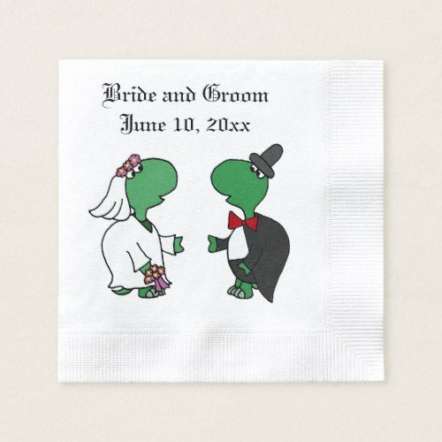 Funny Turtle Bride and Groom Wedding Art Napkin