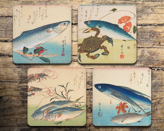 Japanese Sea Coaster Set of 4 - Vintage Japanese Print - Japanese Art - Drink coasters