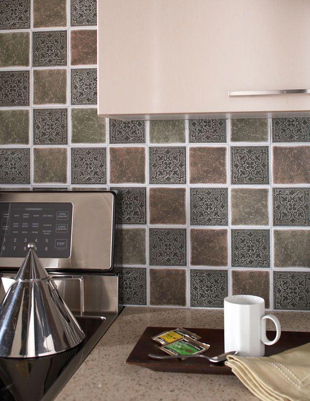 """Medallion Forest Backsplash Tiles 4""""x4"""" (Pack of 27)   Catalog Products   Shop   Self Adhesive Floor Tiles – Peel and Stick Vinyl Tile Backsplash"""