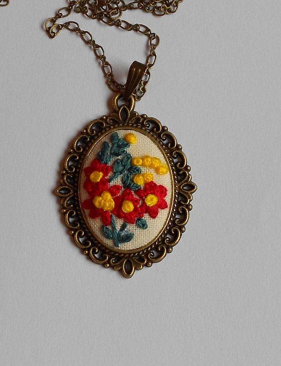 Statement Necklace Flower Jewelry Flower by RedWorkStitches