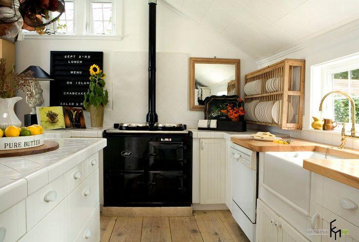 Черная плита в кухне скандинавского стиля