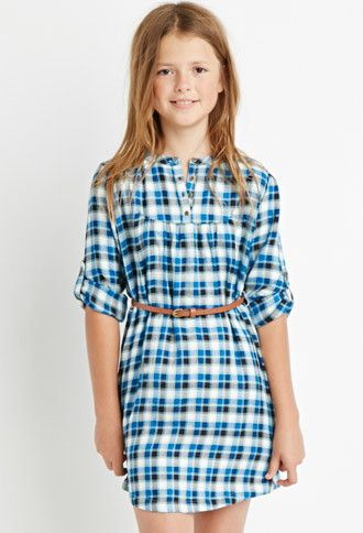 Girls Belted Plaid Peasant Dress (Kids) | Forever 21 girls - 2000142605