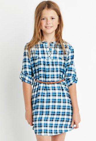 Girls Belted Plaid Peasant Dress (Kids) | Forever 21 girls - 2000142605