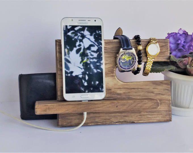 Shabby vintage stijl houten opladen Station telefoon opladen Valet glazen houder nachtkastje organisatie iPhone nacht staan Oak hout
