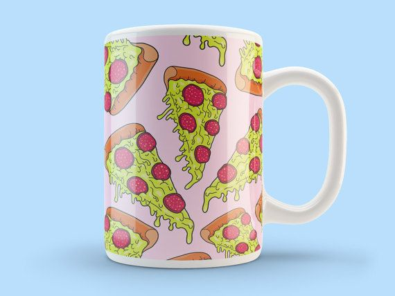 Pizza Mug Cool Mugs Ceramic Mug 10oz Pizza by TheSmallPrintCases