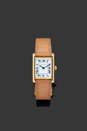 CARTIER  Superb lady's gold watch with camel leather bracelet,  circa 1970