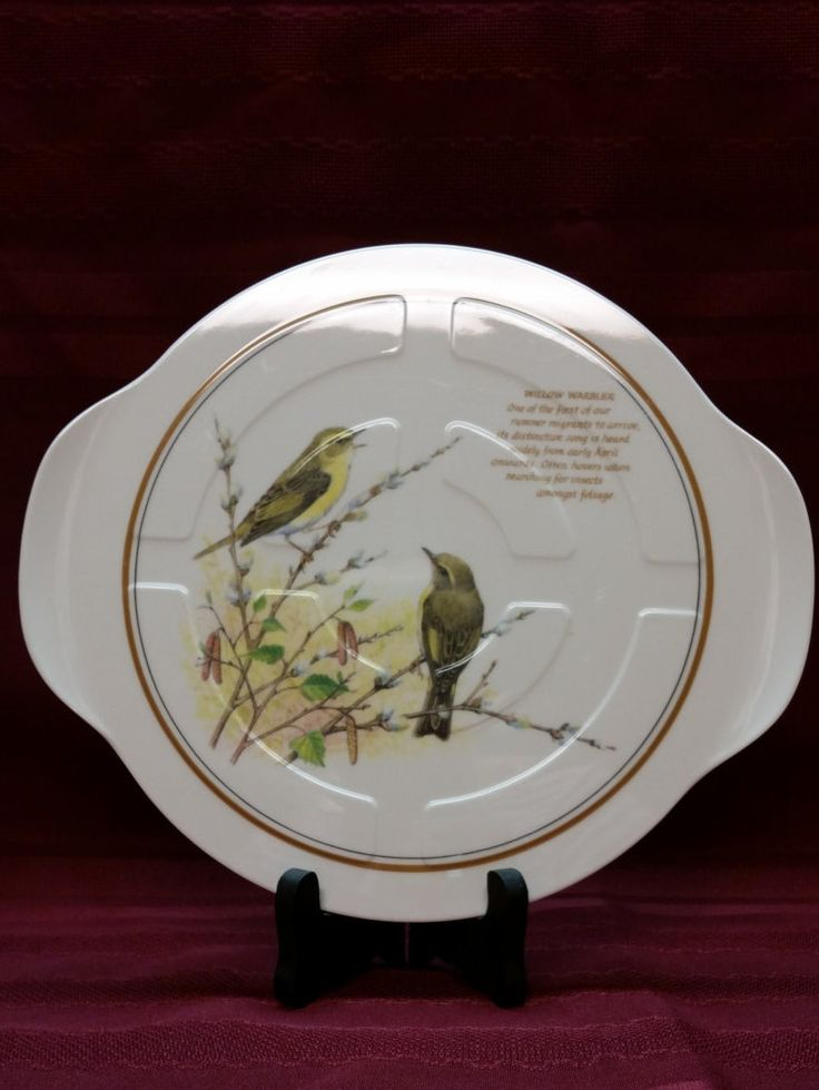 "Willow Warbler - Bird Plate - Made in England - 8.5"" round, 10"" across handles - This is an absolutely beautiful plate in PERFECT Condition! by AmazingFun on Etsy"