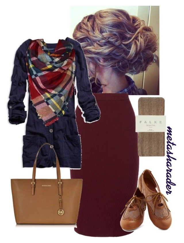 """Fall Work Outfit"" by metasharader ❤ liked on Polyvore featuring Roland Mouret, American Eagle Outfitters, Falke, Michael Kors, Fall, Modest, teacher and pentecostal"