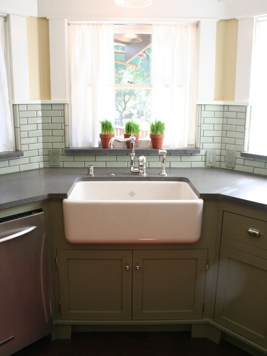 Corner Apron Sink : Wouldnt mind having a corner kitchen sink if it looked like this ...