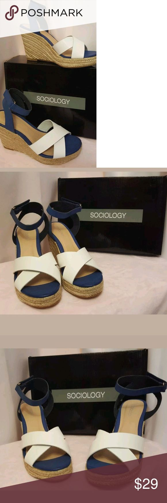 Sociology Criss Cross Espadrille Wedge Sandals 7 Brand New in Box Sociology White & Navy Wedge Sandals. Beautiful shoes, great discounted price. Retails $79.      White and Navy goes great with jeans, dresses, and most casual wear. Great for everyday!  Size 7 Sociology Shoes Espadrilles
