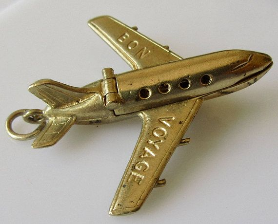 9ct Gold Plane and Pilot Articulated Bon Voyage Charm or