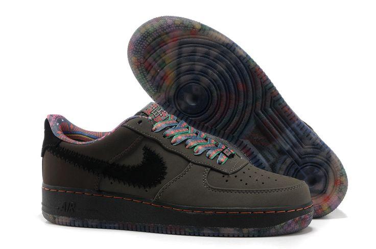 Nike Air Force 1 Schoenen Heren DiepGrijs Zwart Kleurrijke