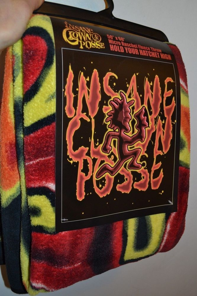 "2011 ICP Insane Clown Posse Fleece Throw Blanket Hatchet FLAMES 45"" by 60"""
