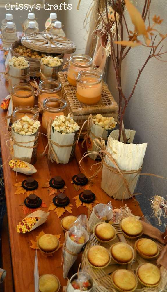 Thanksgiving party dessert table treats and popcorn!  See more party planning ideas at CatchMyParty.com!
