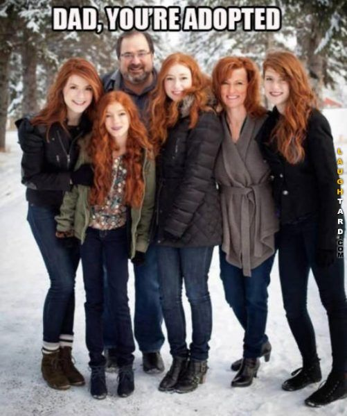 This is what my family looks like tbh only three of us got dad's brown hair while the other four are redheads like mom lmao
