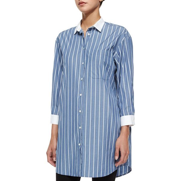 Atm long sleeve striped boyfriend shirt atm anthony for Tony collar dress shirt