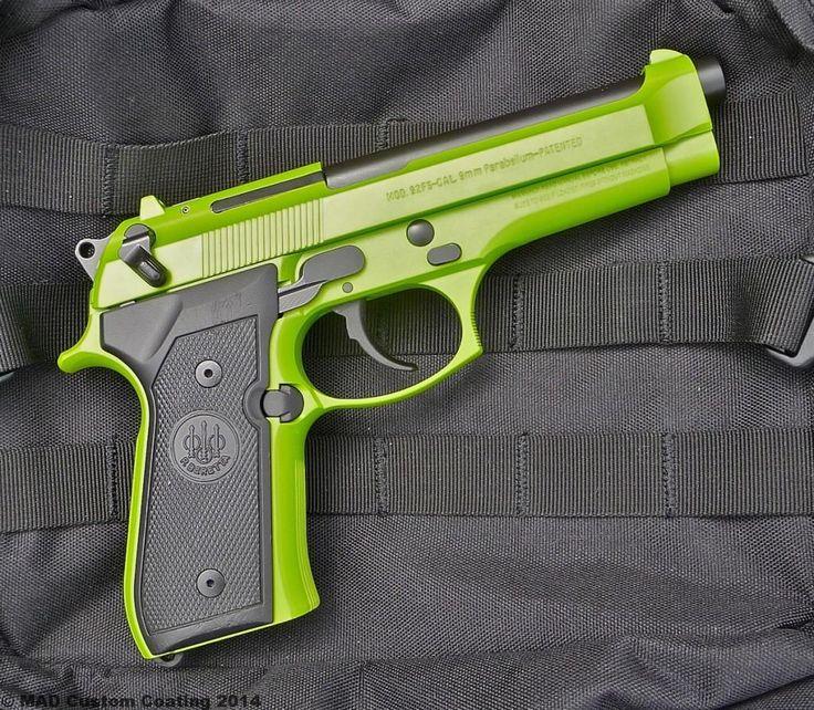Beretta 92 in Cerakote Zombie Green & Graphite Black
