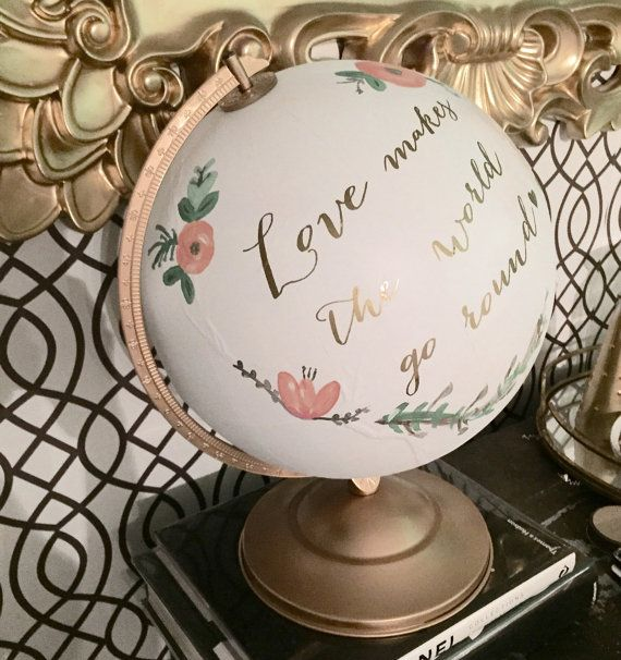 I'm getting one for my office at Christmas, love this! Globe Guest Book / rustic globe guestbook by SequinsAndLaceDesign