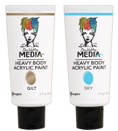 Dina Wakley Media Heavy Body Acrylic Paints are artist quality opaque paints available in 13 bold colors plus 3 metallics. Richly pigmented, these paints feature a thick buttery consistency that holds brushstrokes, peaks and tool marks and can be easily smoothed. The paints blend well with other Media colors, creating an endless palette.
