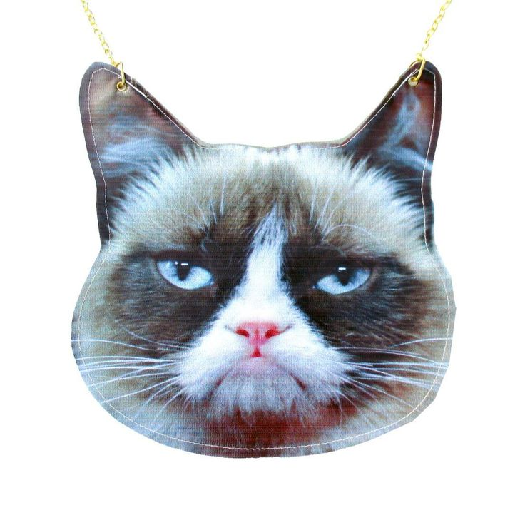 Grumpy Cat Face Shaped Vinyl Animal Themed Cross Shoulder Bag   DOTOLY