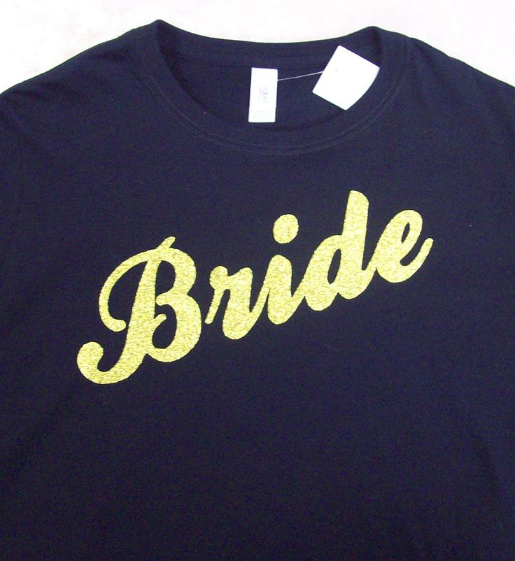 Bride in Gold Glitter on a Black Ladies T shirt