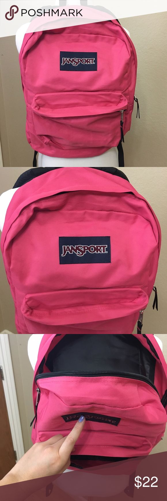 Pink Jansport backpack This really cute Jansport backpack is in amazing condition! The color is like a pinkish coral color (see images) Their is only one pen mark on the inside as shown in the images. Other than that it's in great condition, looks new. Also selling a brand new Jansport backpack in my closet. Jansport Bags Backpacks