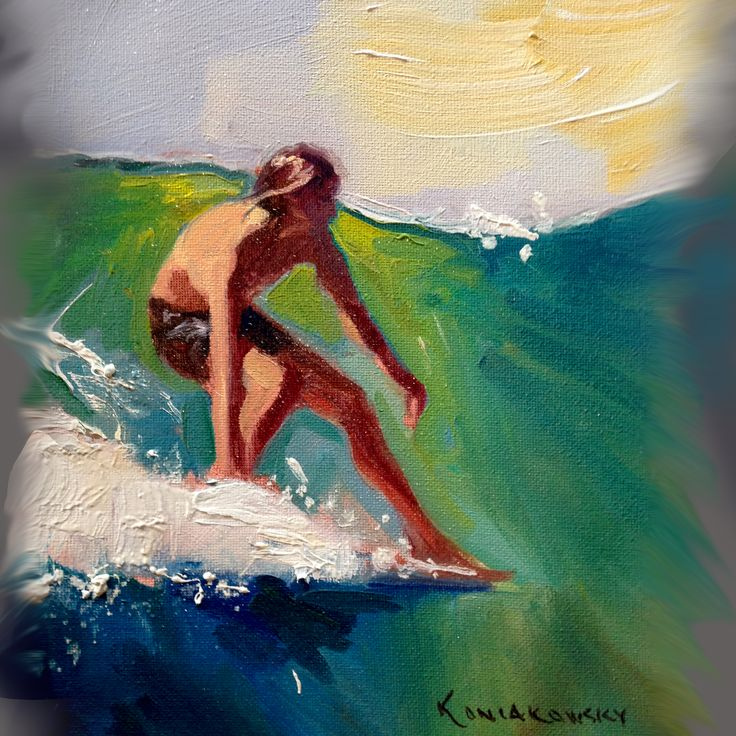 Best Surf Paintings Images On Pinterest Surf Surfing And Enamels - Artist paints incredible seaside murals balanced on surfboard