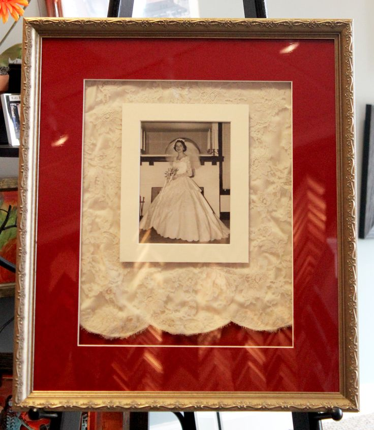 Our customer took a portion of her mother's wedding dress and had it framed with a photo of her mother on her wedding day. This piece of art is so precious. The frame is from the Marais series by @larsonjuhl, and we framed this at The Great Frame Up West Des Moines, Iowa.