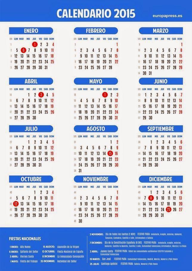 Calendario laboral 2015: Ocho fiestas nacionales y no hay puentes largos.