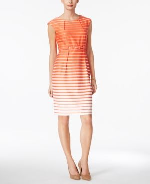 Connected Petite Belted Striped Sheath Dress - Orange 10P