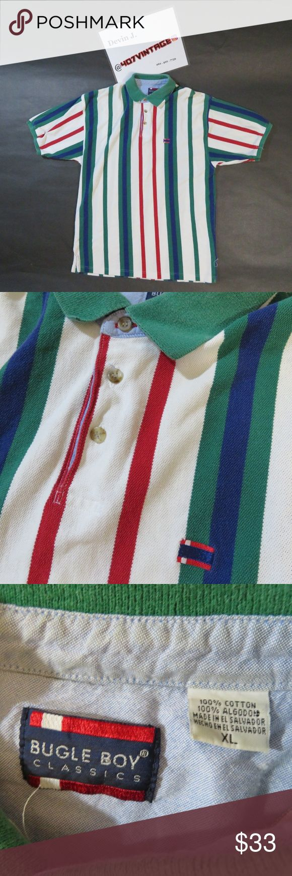VTG Bugle Boy Polo LARGE Vintage Bugle Boy Classics Vertical Striped Off White Red Blue Green Polo Shirt | MENS Size XL | Great used condition, slight fading from age Bugle Boy Shirts Polos