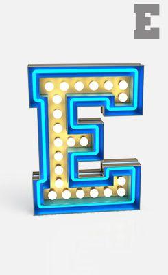 Lámparas de letras luminosas. Que bonita mi E!. DELIGHTFULL - UNIQUE LAMPS | GRAPHIC LAMP COLLECTION