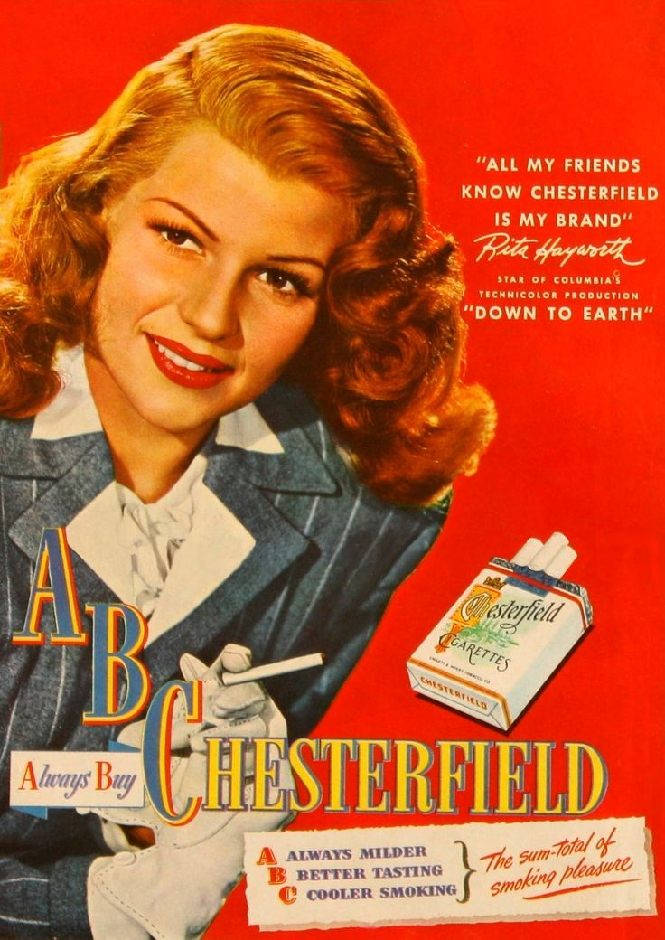 Rita Hayworth Chesterfield cigarettes